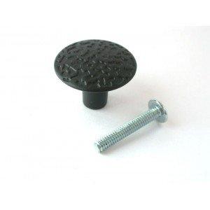 "1-1/8"" Black Hammercraft Knob with Screws"