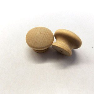 "1-3/8"" Birch Mushroom Drawer Pull with 1/8"" Hole"
